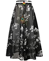 IDEALSANXUN Bohemian Beach Skirts for Womens Print Aline Swing Maxi Long Skirts(Black, M)