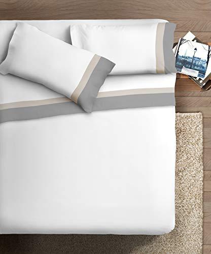 Ipersan Completo letto con DOPPIA BALZA RASO di Cotone 2 piazze Bordo RASO Grigio SC/Panna fondo Bianco