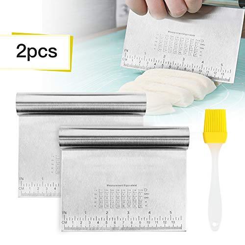 Teigspachtel 2 Stück Teigkarte Dough Scraper Bench Scraper Backspachtel Küchenspachtel Gemüseschaufel Kochschaufel aus Edelstahl + 1 Stück Silikon Backpinsel