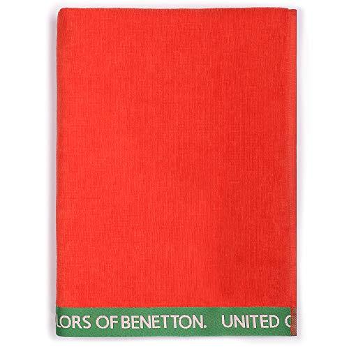 UNITED COLORS OF BENETTON. Toalla de Playa 90x160cm 380gsm Velour 100% algodón Rojo Casa Benetton, 90x160