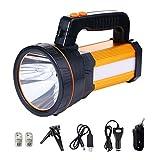 MOZC Lampe Torche Rechargeable, Lumineuse Éclairage 8-24H 800M Tactique à DEL avec Poignée CREE L2 Spotlight Torche Électrique 7000 Lumens (H Modèle, Or)