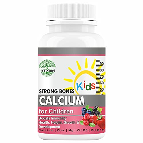 A1NUTRI Calcium for Kids with Vitamin D3, Magnesium and Zinc Supplement Supports Strong Bones Growth, Energy and Development, Sugar Free Mix-Fruit Flavor Chewable Tablets - 60