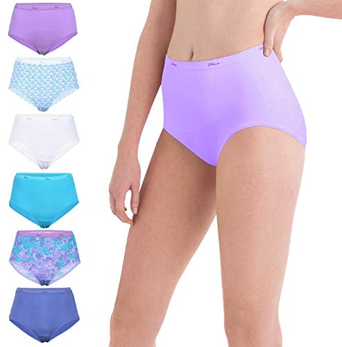 Hanes Women's Plus Size Cotton Brief Panties, Available in Multiple Packs, 6 Pack-Assorted 2, 10