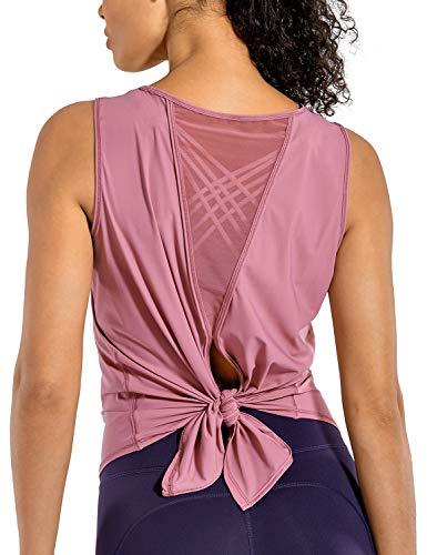 CRZ YOGA Camiseta Deportiva de Tirantes Prendas Deportivas para Mujer de Fitness Espalda Abierta Musgo Rosa 44