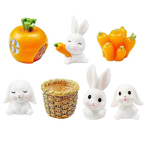 tonguk 7Pcs Easter Miniature Rabbit Ornament ,Miniature Easter Bunny Decoration Mini Animal Figure Decoration for DIY Craft Easter Party Yard Office Decoration