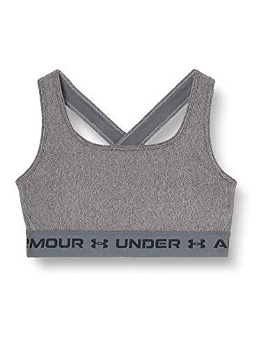 Under Armour Women's Crossback Mid Heather Bra , Charcoal Light Heather (019)/Black , Medium