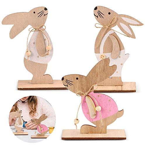 3 Coniglio Pasquale Decorazioni,Ornamenti di Artigianato Coniglio in Legno,Statuetta Coniglio in Legno,Decorazioni Coniglietto in Legno,Pasqua Legno Coniglietti,Coniglietti Pasquali In Legno (A)