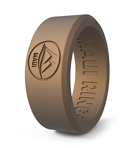 Anillo de bodas Maui Rings Best, de silicona, con estilo sólido, para hombre, anillo de matrimonio y anillo de compromiso, de goma, GOLDEN SAND, 62 /US:10 / UK:T-U(19.76mm)