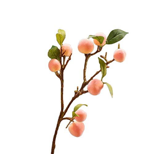 Artificial Peach Branches,Decorative Fruit Branch with Green Leaves,Fake Peach Tree Simulation Fruit Bonsai for Home Office Indoor Outdoor DIY Decor
