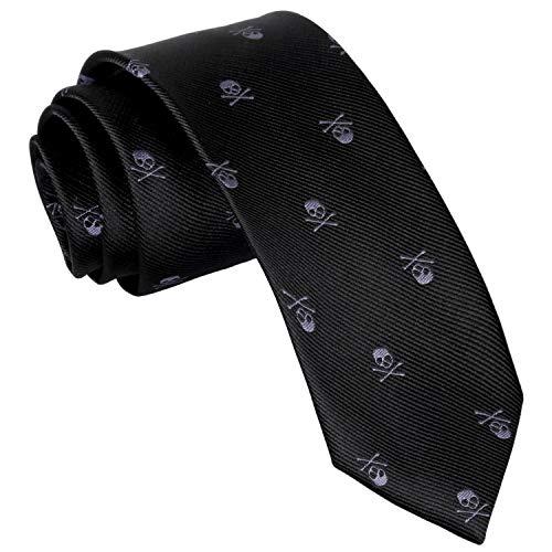 Alizeal Corbata con Patrón de Cráneo para Hombre,Ideal para Fiesta de Halloween,Negro