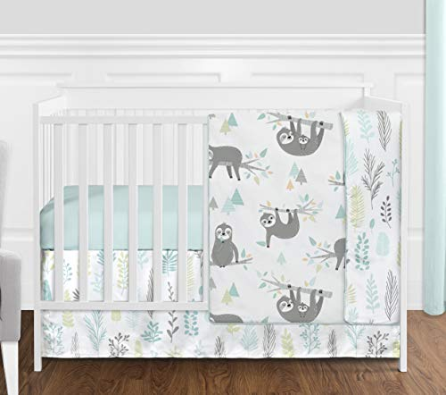 Sweet Jojo Designs Blue and Grey Jungle Sloth Leaf Baby Unisex Boy or Girl Nursery Crib Bedding Set Without Bumper – 4 Pieces – Turquoise, Gray and Green Tropical Botanical Rainforest