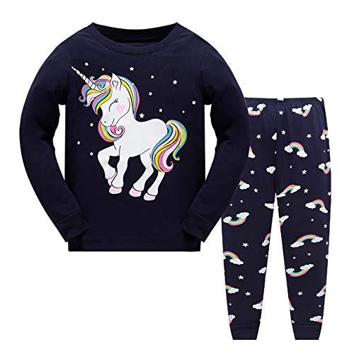 Schlafanzug Mädchen Einhorn Kinder Zweiteiliger Baumwolle Lang Ärmel Nachtwäsche T-Shirt und Hose 104
