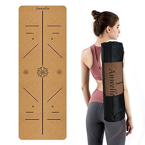 Anweller Esterilla de Yoga antideslizante de caucho natural, esterilla ecológica deportiva con correa y bolsa, esterilla de fitness para gimnasio/deportes al aire libre (Lotus Negro)(183x61x0.6cm)