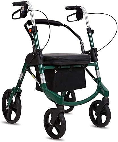 Andadores para ancianos Walker for Seniors Rollator Drive Drive Ayuda para caminar, Ayuda para caminar 4 ruedas Portátiles, Postura vertical Rolling Walker Sistema de frenos Doble, usado para