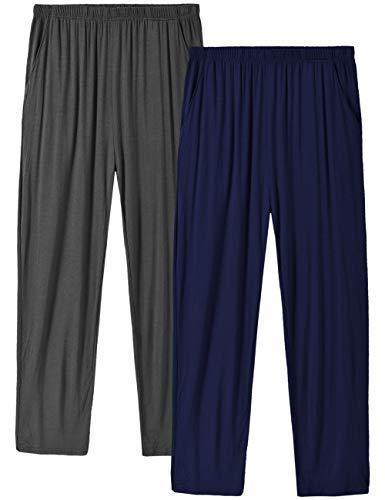 MoFiz Herren Pyjamahose Modal Schlafanzughose Lang Schlafhose Winter mit Bündchen 2 Pack Dunkelgrau/Schwarzblau DE 60/62 US 2XL