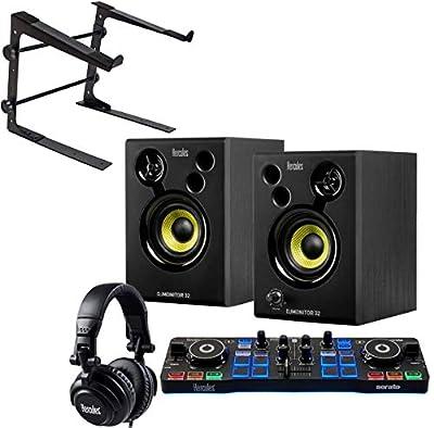 Hercules DJ Starter Kit 2-Deck USB DJ Controller Set Including Boxes Headphones and Kepdrum Laptop Stand