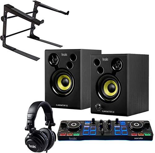 Hercules DJ Starter Kit 2-Deck USB DJ-Controller Set inkl Boxen Kopfhörer + keepdrum Laptopständer