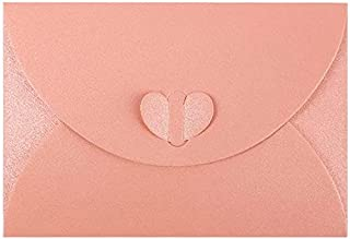Gift Card Envelopes, Small Pink CuteGift Card Holder Mini Envelope Pockets with Heart-Shaped Clasp for Small Note Cards 4...