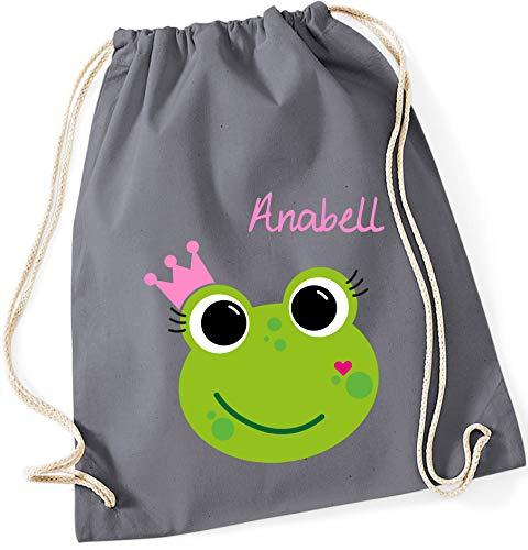 Turnbeutel mit Namen | inkl. Namensdruck | Motiv Frosch-Königin | Stoffbeutel Zuziehbeutel Rucksack Sportbeutel für Kinder Mädchen Krone (grau)