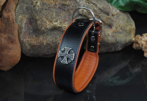 BULLYZEI Lederhalsband Kelten D-Ring bei der Schnalle 65cm x 5cm schwarz-braun Wikinger