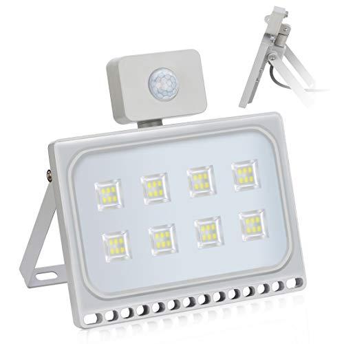 50W Faretto LED da Esterno con Sensore di Movimento, IP65 Impermeabile Luce di sicurezza 4500LM 6500K Bianca Fredda Faro LED per Giardino,Garage,Cortile [Classe di efficienza energetica A+]