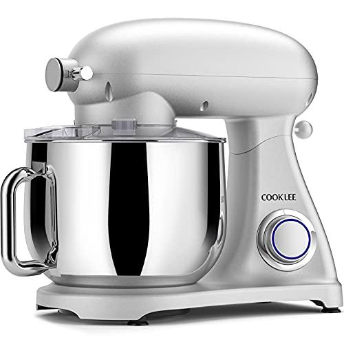 Robot de cocina COOKLEE 3 en 1, amasadora eléctrica de metal, batidora de 10+1 velocidades, 8L, 1800W, batidora de alimentos, batidora con gancho, cuenco, pala, batidor y tapa