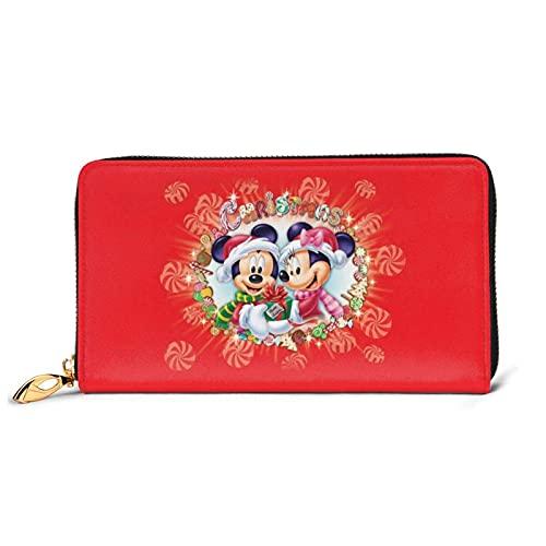 XCNGG M-Ickey Mouse Carteras de Feliz Navidad para Mujeres Hombres Exquisito Bolso de Mano Multifuncional Impermeable con Cremallera de Cuero avanzado