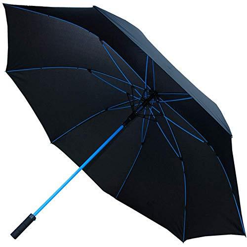COLLAR AND CUFFS LONDON - XXL Paraguas de Golf 95 km/h Muy Fuerte - Arco de 172 cm - A Prueba de Viento - Estructura Reforzada con Fibra de Vidrio en Azul - Automático - Paraguas Largos - Grande Negro