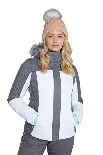 Mountain Warehouse Pyrenees Gepolsterte Skijacke für Damen - wasserdichte Winterjacke, atmungsaktiv, verstellbare Passform, abnehmbare Kapuze, Schneefang, Luftöffnungen Weiß 32