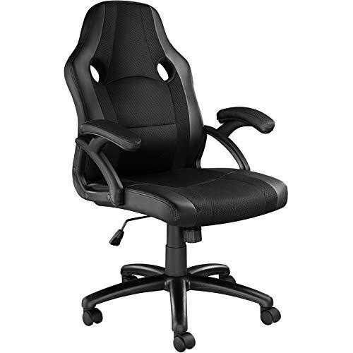 TecTake 800781 Racing Bürostuhl, Chefsessel mit Wippmechanik, Kunstleder Gaming Stuhl, höhenverstellbarer Schreibtischstuhl, ergonomischer Drehstuhl - Diverse Farben - (Schwarz-Schwarz | Nr. 403481)