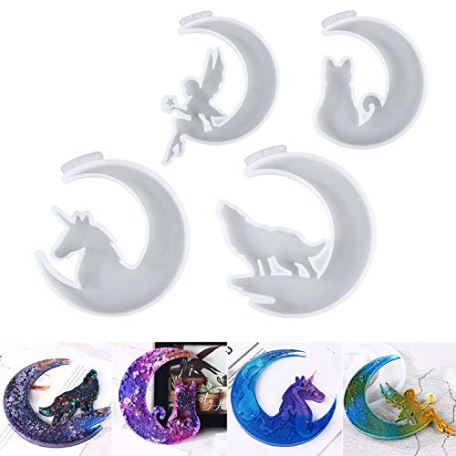 LET'S RESIN Crescents Moon Mold, Epoxy Resin Molds, Silicone Epoxy Molds, Moon Wolf, Moon Cat, Moon Fairy, Moon Unicorn Mold