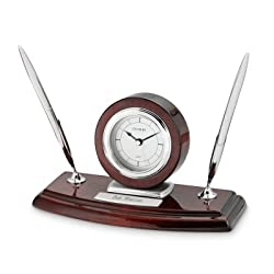 Things Remembered Personalized Mahogany Silver Clock and Double Pen Stand with Engraving Included