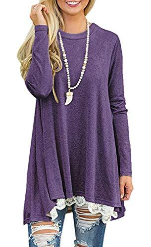 Women's Crew Neck Long Sleeve Lace Splicing Swing Shirt Dresses Long Tunic Blouses Shirts for Leggings Purple