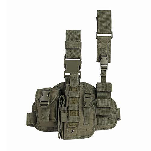 Paladins Drop Leg Holster with Magazine Pouch,Left Handed Tactical Thigh Pistol Gun Holster Leg Harness,Glock 19 Holster OD