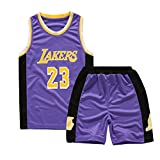 HANJIAJKL Garçon Lakers 23# James Maillot T-Shirt De Basket-Ball Uniforme De Basket-Ball Top Short Brodés,Violet,S(120~130cm)