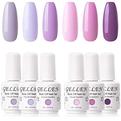 Gellen Gel Nail Polish Kit - 6 Colors Lavenders Series - Violet Lilac Rose Pink Popular Nail Gel Colors Nail Art DIY Home Gel Manicure Set