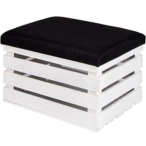 LAUBLUST Sitzhocker mit Stauraum - ca. 50x40x30cm, Weiß - Polster Schwarz | Hocker aus Holz - Sitzbank für Drinnen & Draußen | Aufbewahrungshocker mit Deckel | Sitzpouf & Fußhocker