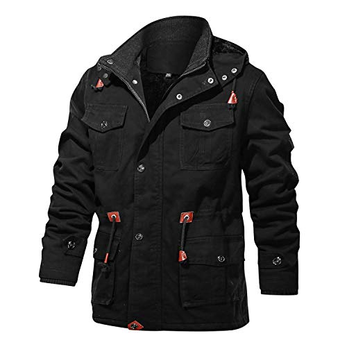 FEDTOSING Winterjacke Herren Innenfleece Militär Übergangsjacke Baumwolle Parka Jacke Cargo Feldjacke Multi Taschen Kapuze(EU Black L