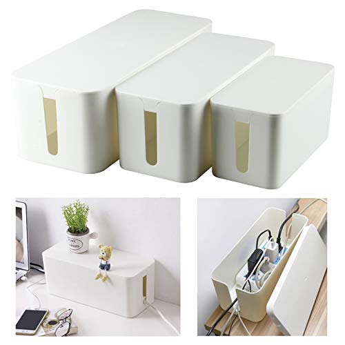 YaeCCC Cable Management Organizer Box Power Strips Hider Power Cords Hider for Desk, TV, Computer, USB Hub,Cords (Set of Three) White