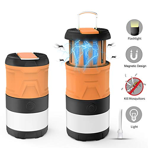Camping Lantern Bug Zapper Outdoor LED Camp Lamp Magnetic Telescopic IPX4 Waterproof Flashlight 3in1 Tent Light with 2000mAh Rechargeable Battery for Camping Outdoor Hiking Emergency Lighting