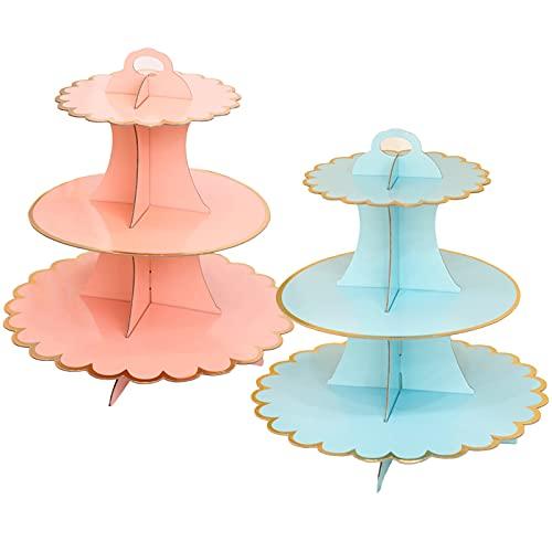 MHwan Soporte para Tartas 3 Pisos, Soporte Cupcakes, Exhibición del Soporte de la Torta Puesto de Postre de 3 Niveles Soporte para Cupcakes para cumpleaños, Fiesta, Baby Shower, 2 Piezas