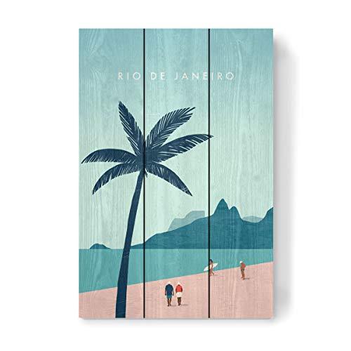 artboxONE Holzbild 45x30 cm Reise/Strand und Meer Rio de Janeiro Illustration von Künstler Katinka Reinke