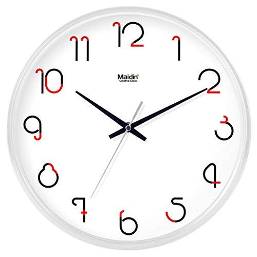 Everyday home Horloge murale silencieuse de qualité non-cinglante à quartz ronde facile à lire Accueil/bureau/école horloge (Couleur : Blanc, taille : 10 inch)