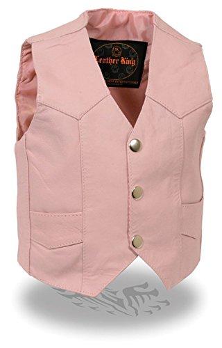 Kids Motorcycle Cowhide Genuine Leather Pink Riding Biker Vest for Boys & Girls (M Regular)