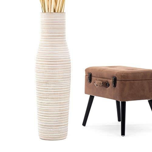 Leewadee Große Bodenvase für Dekozweige hohe Standvase Design Holzvase 90 cm, Mangoholz, White wash