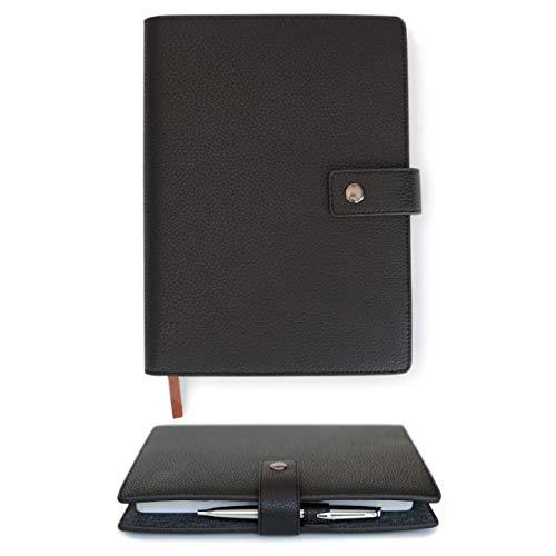 Hülle für Tagebucheinband aus Vollnarbenleder mit A5-liniertem Notizbuch, Stiftschlaufe, Kartenfächer, Messing-Schnappverschluss schwarz