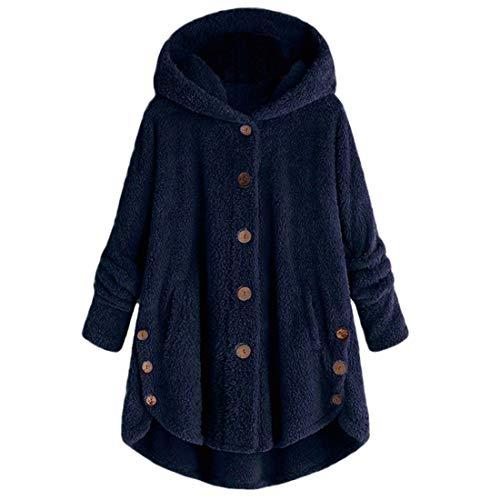 QJSZ Damen Fleece Hoodie Mantel Unregelmäßiger Saum Button Strickjacke Herbst und Winter neu Locker und bequem Warm Casual Daily Wear Mit Taschen Streetwear L