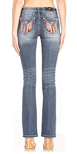 Miss Me Women's Mid-Rise Slim Boot Cut Jeans with Colorful Southwestern Embellishments (Dark Blue, 31)