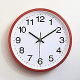 XYQY Clásico Simple Vintage Relojes de Pared Llegada Moderno Ronda Plasitc Reloj Cuarzo Horloge Retro Wathces 12 Pulgadas Rojo