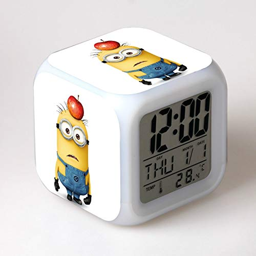 yuandp Kinderwecker LED-Licht 7 Farbwechsel Minion digitaler Wecker Kinderspielzeug reloj Kinderuhr